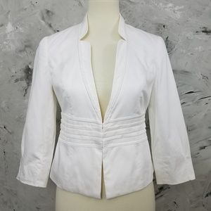 WHBM White Cotton Casual Jacket / Blazer
